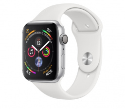 Смарт-часы Apple Watch Series 4 Sport 44mm Silver Al/White Sport Band (MU6A2)
